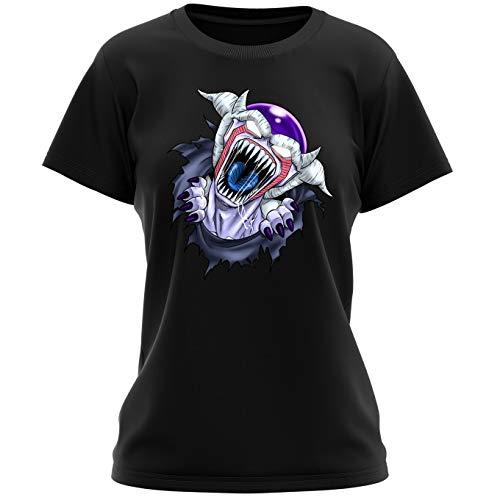 Okiwoki T-Shirt Femme Noir Dragon Ball Z - Alien parodique Freezer : La Naissance d'un Alien. (Parodie Dragon Ball Z - Alien)