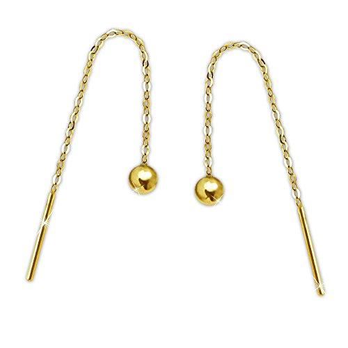 Clever Schmuck Goldene elegante Damen Ohrringe als Ohrdurchzieher 57 mm mit kleiner Mini Kugel 3 mm glänzend zum Abschluß am Ankerkettchen 333 GOLD 8 KARAT