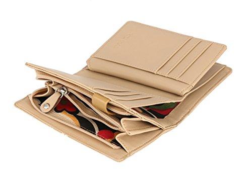 RFID borsa del portafoglio MENKAI disegno volpe verde Balsam 666-C2 Beige