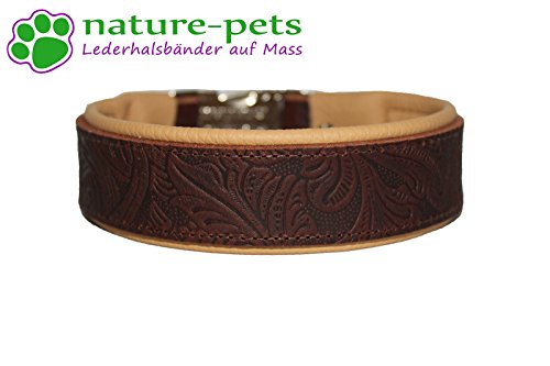 Hundehalsband Leder Choc Leaves -