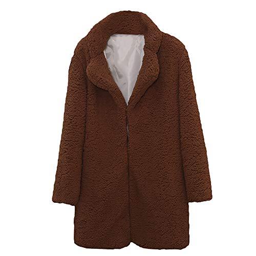 Heligen Frauen Herbst Winter Casual Solid Color Kerbe Kragen urn-down Kragen Langarm Faux Pelzmantel Outwear Bluse Faux Cashmere