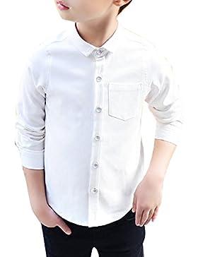 Camisa Para Chicos Uniforme Escolar Manga Larga Abotonar Camisa Blanco