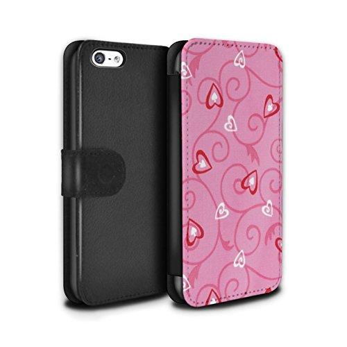 Stuff4 Coque/Etui/Housse Cuir PU Case/Cover pour Apple iPhone 5C / Violet/Bleu Design / Coeur Vigne Motif Collection Rose/Rouge
