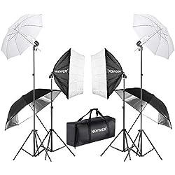 Neewer 800W Kit d'Eclairage Softbox et Parapluie Photographie Studio avec (2)60cm Softbox, (2)Parapluie Blanc, (8)Parapluie Noir/Argenté, (2)Support Lumière 224cm et Sac Transport pour Studio Tournage