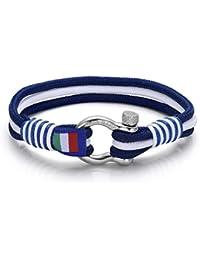 Herren Armband in weiss und blau marine. Italienischer Schmuck. Luca Barra DBA883. Wasser Sport, Mode, Stil