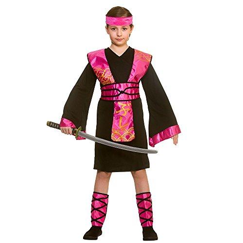 Kinder Mädchen Schwarz / Rosa Ninja Assassin Kostüm Kostüm ()