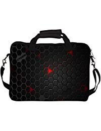 """Snoogg Black Honey Comb 12"""" 12.5"""" 12.6"""" Inch Laptop Notebook SlipCase With Shoulder Strap Handle Sleeve Soft Case..."""