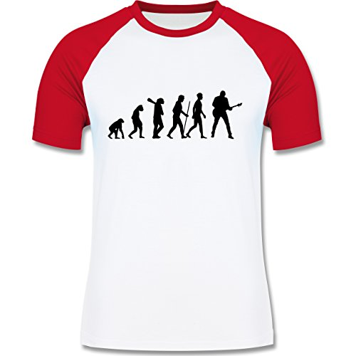 Shirtracer Evolution - Gitarrist Evolution - Herren Baseball Shirt Weiß/Rot