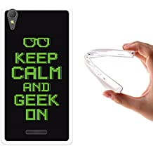 Funda Sony Xperia T3, WoowCase [ Sony Xperia T3 ] Funda Silicona Gel Flexible Pixel - Keep Calm and Geek On, Carcasa Case TPU Silicona