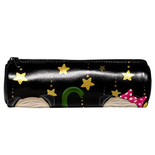 de mit Kürbis-Leder-Stiftmäppchen, Münztasche, Kosmetiktasche, Make-up-Tasche für Schule, Arbeit, Büro ()