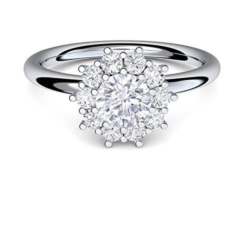 **Verlobungsringe von AMOONIC mit Zirkonia Stein* Silber 925 + LUXUSETUI* Cocktailring moderner Ring Designerring Einkaräter Antrag Silberringe Ring wie Diamant Weißgold AM48SS925ZIFAZIFA54