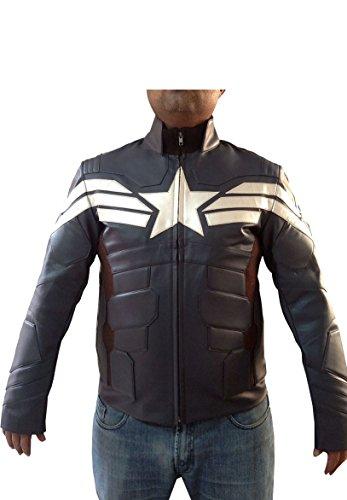 Bestzo Mens Fashion America Real Leather Captain Jacket Grey