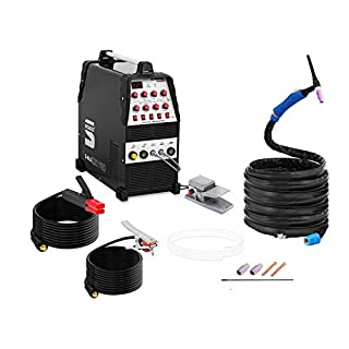Stamos Welding Aluminium Welder Wig AC-DC/MMA Inverter S-ALU 220 PRO (220 A / 60% DC, 8-metre Cable & Cable Package, 2-/4-step/Pulse Function, Foot Pedal with 8 m Cable)
