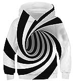 uideazone Jungen Mädchen Kapuzenpullover 3D Druck Teenager Hoodies Kinder Langarm Pullover Sweatshirts Kapuzenjacke mit Taschen 6-16Years, A-weiß Schwarz, 13-16Jahre