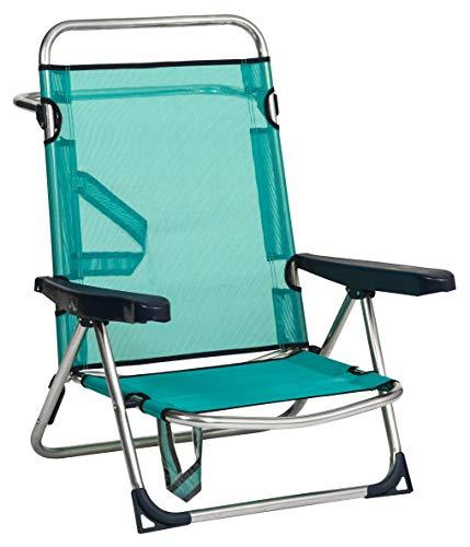 Alco - Silla Cama Playa Aluminio Fibreline Color Azul Turquesa 30 1-607AZ