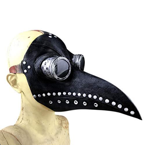 DeYL Halloween Dekoration Steampunk-Vogel-Doktor Totenmaske Halloween-Kostüm Lange Cosplay Partei Pico - Schwarz