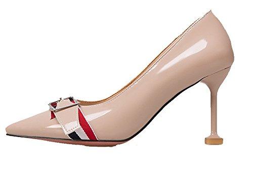 VogueZone009 Donna Tirare Tacco Alto Pelle Di Maiale Puro Scarpe A Punta Ballerine Albicocca