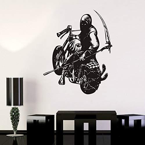 Baobaoshop Motorrad Sichel Schädel Halloween Aufkleber Punk Tod Aufkleber Teufel Name Auto Wanddekorationen Wanddekor Wandbild 58 * 71 cm