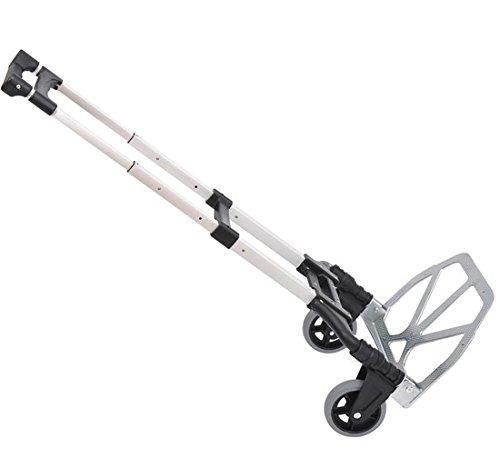 Homcom Chariot diable pliable leger telescopique charge 70kg en aluminium argent-noir
