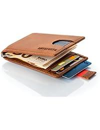 LØWENHERZ Leder Kartenetui mit Geldklammer Powerstrap und RFID- / NFC-Schutz in Cognac-Braun - Slim Wallet für Herren