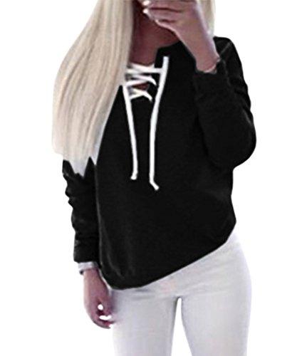Bigood T-shirt Sport Femme Pull Coton Top Manche Longue Chemise Haut Bandage Blouse Casual Noir