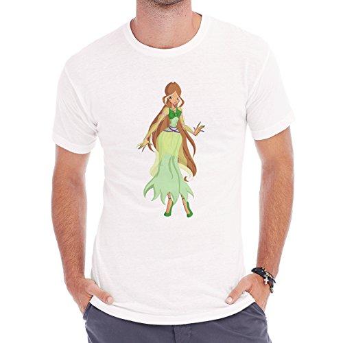 Winx Club Flora Simple Brown Hair Herren T-Shirt Weiß