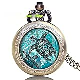 Reloj con colgante de tortuga marina, tortuga marina, joyería de tortuga marina, reloj de joyería de tortuga marina