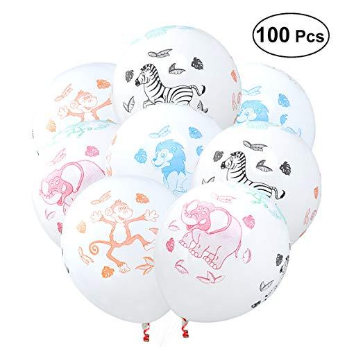 YEAHIBABY Tierballons verdicken Latex Luftballons mit Druck Tier, 100 Stück -