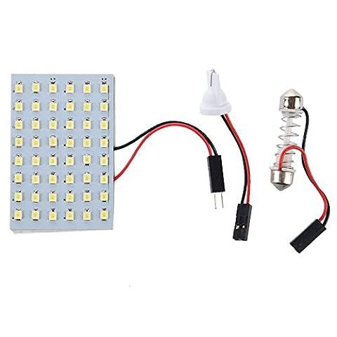 SODIAL(R) 5x 48 blanc SMD Panneau LED 12V + T10 / BA9S Socket + Soffitte (Bianco Festone)