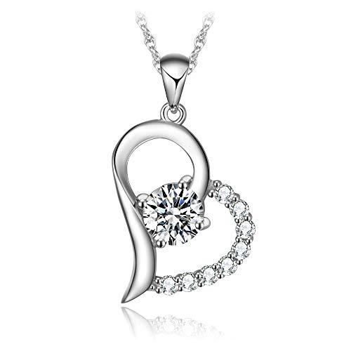 T400Juweliere One und Only Love S925Sterling Silber Herz Anhänger Halskette Fashion Schmuck für Partner 45,7cm + 5,1cm (20-dollar-gold-zertifikat)