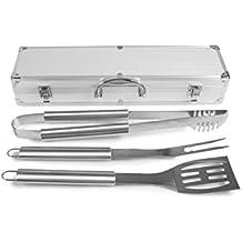 Rustler RS 0524Set di Posate per Barbecue in Valigetta di Alluminio, Color Argento