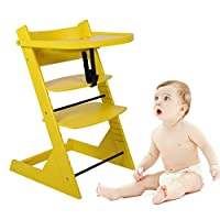 LEPAK Baby Wooden Highchair,Dining Chair Children Eating Seat Baby Growth Dining Chair Multi-function Adjustable High Chair,Yellow