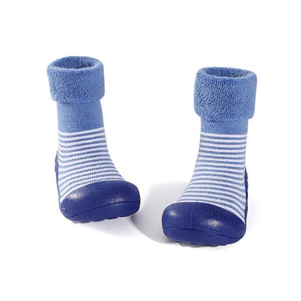 LACOFIA Zapatos de Calcetines Antideslizante de bebé niñas niños Botas de calcetín con Suela de Goma para bebé Unisex 2