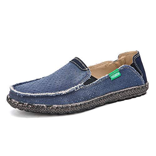Driving Müßiggänger Für Männer Runde Kappe Lässig Flache Penny Schuhe Tuch Vamp Slip On Atmungsaktive Zu Fuß Bootsschuhe Leichte Durable,Grille Schuhe (Color : Blau, Größe : 43 EU) -