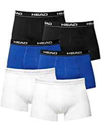 Head 6 Pantalons pack Boxer Short Hommes en coton stretch court Athletic Fit - Noir