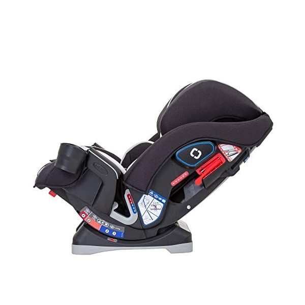 Graco Slimfit All-in-One Car Seat, Group 0+/1/2/3, Pearl Grey Graco 3 in 1 car seat can be used from birth up to 36 kg (approximately 12 years). rearward facing for longer from birth to approx. 4 years (0-18kg) Easily converts to and from the three riding positions; rear-facing harnessed seat (0-18kg), to forward-facing harnessed seat (9-18kg) and to high back booster (15-36kg) True shield safety surround side impact protection for enhanced safety 3