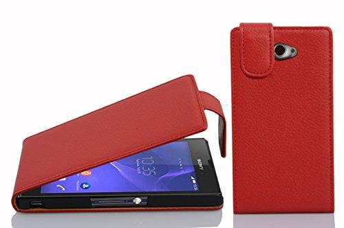 Cadorabo Hülle für Sony Xperia M2 Hülle in Inferno Rot Handyhülle aus Strukturiertem Kunstleder im Flip Design Case Cover Schutzhülle Etui Tasche Inferno-Rot