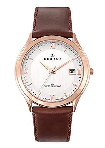Certus–Reloj Hombre–h612m380–Piel marrón–Caja Dorado Rosa–Reloj Color Blanco–Date