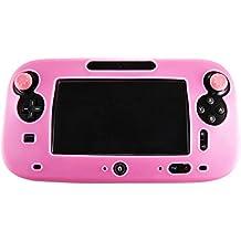 Pandaren® Cubierta piel Fundas Protectores silicona para el mando tablet Nintendo Wii U (rosa) + thumb grip x 2