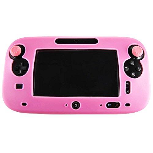 Pandaren® Silikon Skin Cover hülle für Nintendo Wii U Tablet Controller (Rosa) + thumb grips aufsätze x 2