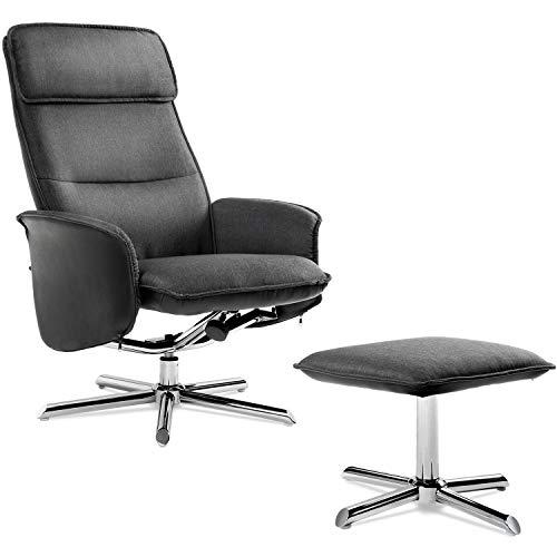 Modern Luxe ® Fernsehsessel mit Hocker Relaxsessel Loungesessel 135° Kippbar Leinen Schwarz