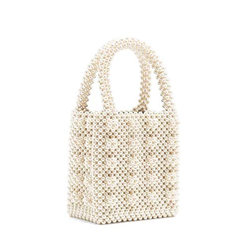 HHdstb Hand-Perle Tote Retro High Bright Pearl Sommer Frauen Mini Bag Top-Griff-Box Abend Party Handtasche -