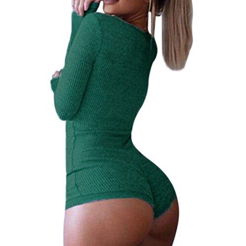 Vogholic Damenmode Langarm-Tief-V Neck Knitted Spielanzug-Overall-Strampler Green