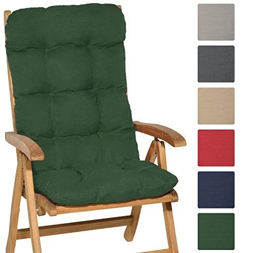 Beautissu Hochlehner Auflage Flair HL 120x50x8cm Sitzkissen Rückenkissen Sitzpolster Schaumflockenfüllung Dunkel-Grün