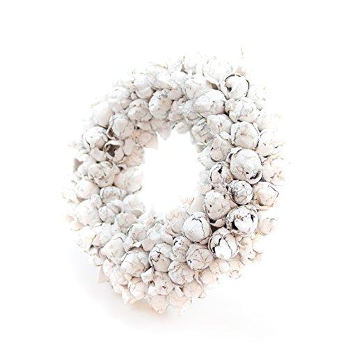 Naturkranz Deko-Kranz groß Ø 35cm in weiß, gefertigt aus Kokos-Früchten. Türkranz zum hängen oder als Tischdekoration im Shabby chic Design, zeitloses Wohnaccessoires als Natur-Deco von Glaskönig