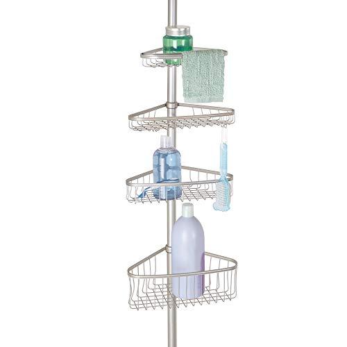 InterDesign York Teleskop Duschregal | mit Handtuchhalter und Haken | hochwertige Duschablage ohne Bohren | vierfacher Duschkorb für mehr Stauraum | Metall mit Satin-Finish