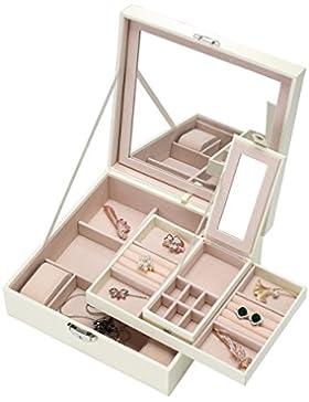 meshela Schmuck Organizer, PU-Leder Schmuck Box–Großer Spiegel & 2Schalen für Frauen und Mädchen Ohrring Ring...