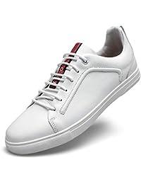 Zapatos de Cordones Casuales para Hombre Zapatos de Cuero cómodos Straightset Sneakers (23-28cm