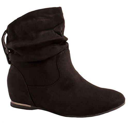 Elara Damen Schlupfstiefel | Bequeme Klassiche Stiefeletten | Flache Boots AB02-25 Black-37