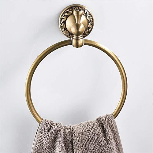 Porta asciugamani asciugamano stile europeo classico, porta asciugamano da bagno in ottone color bronzo antico anticato, appendiabiti da bagno con portasalviette tondo da parete mensola per asciugaman
